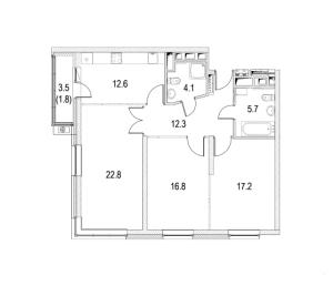 Планировка 3-комнатной квартиры в Фестиваль Парк